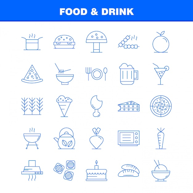 Food and drink line icons set Premium Vector