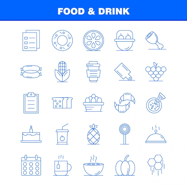 Food and drink line icons Premium Vector