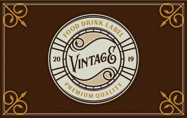 Food and drink logo design for brand label Premium Vector