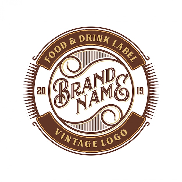 Food and drink logo design for brand label Premium Vector
