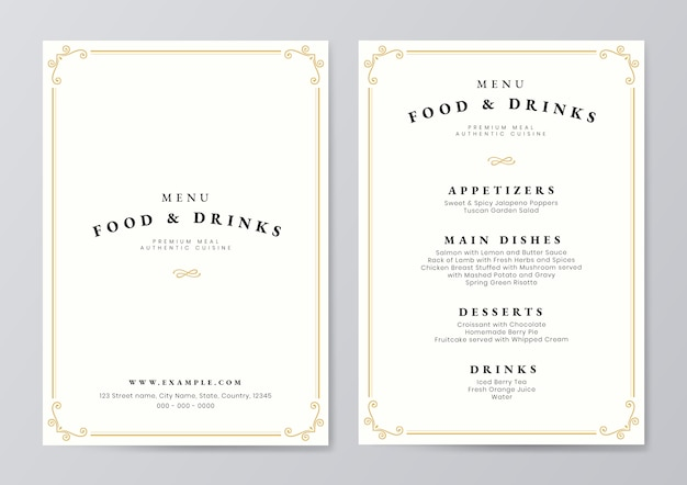 Food and drink menu template vector Premium Vector