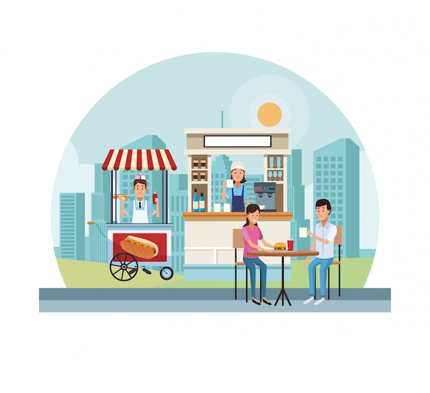 Food and drink stands Premium Vector