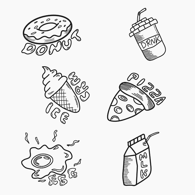 Food and drinks doodle art style Premium Vector
