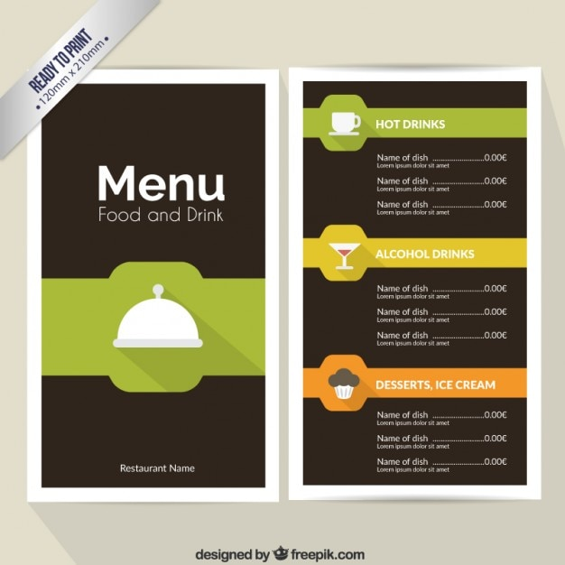 Food and drinks menu Free Vector