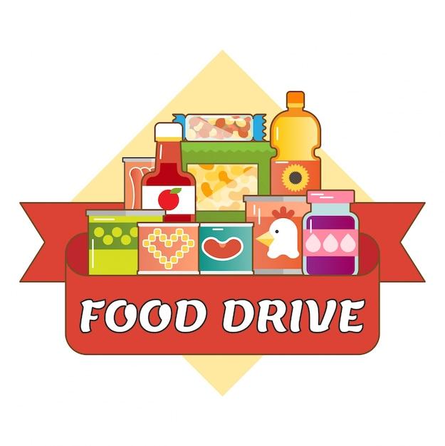 Логотип благотворительного движения food drive Premium векторы
