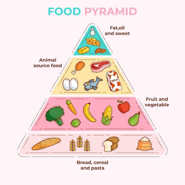 Пищевые основы пирамиды для правильного питания Бесплатные векторы