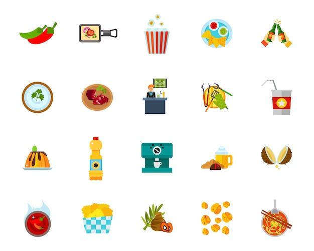 Food establishment icon set Free Vector