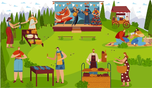 Food festival outdoor, people celebrating traditional cultural event picnic,  illustration Premium Vector