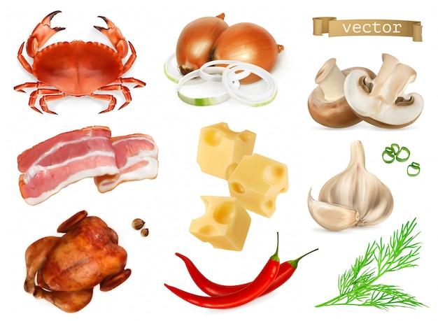 Пищевые ароматизаторы и приправы для закусок, натуральные добавки, специи и другие вкусовые качества в кулинарии. краб, бекон, курица, лук, сыр, перец, грибы, укроп, чеснок, 3d реалистичный набор иконок Premium векторы