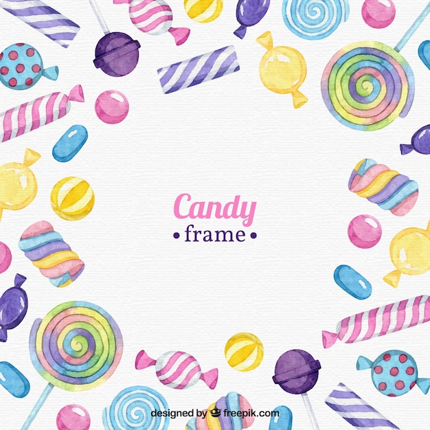 Food frame with colorful candies Free Vector