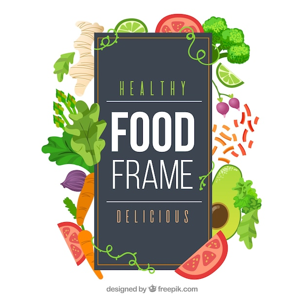 Food frame with vegetables Free Vector