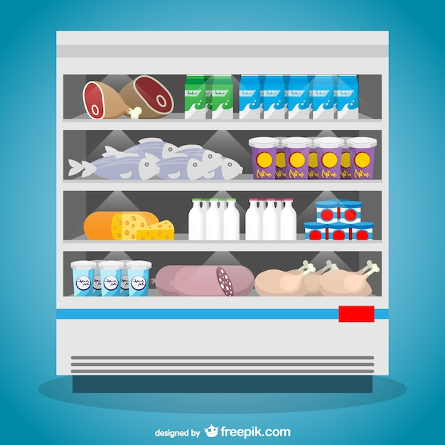 Food freezer supermarket vector Free Vector