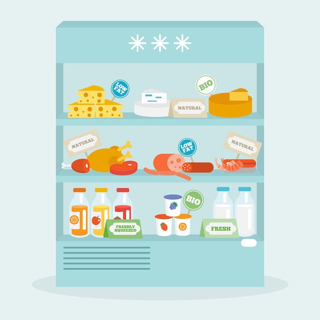Food in fridge collection Free Vector