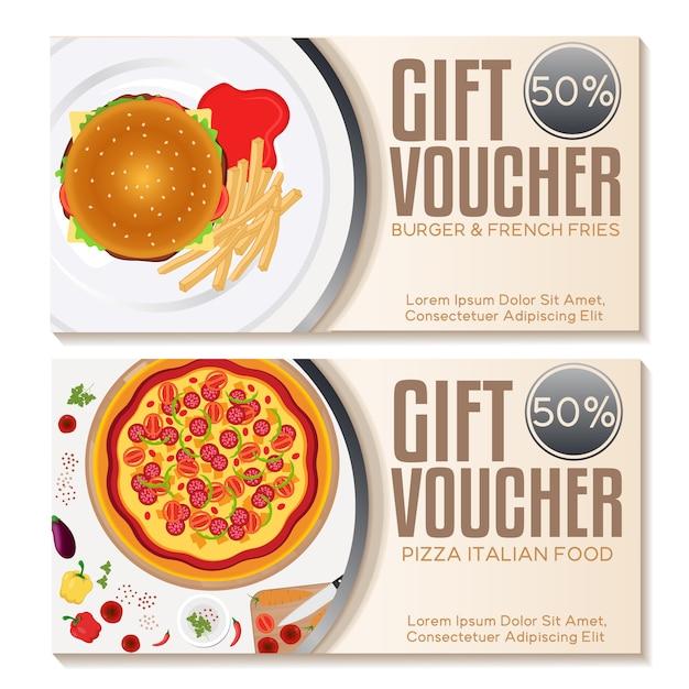 Food  gift vouchers set Free Vector