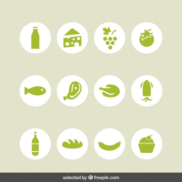 Food green icons collection Free Vector