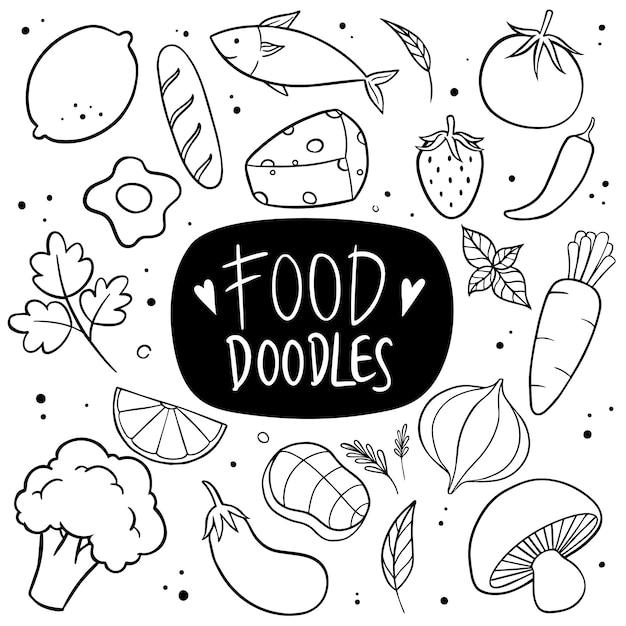 Food hand drawn doodle vector Premium Vector