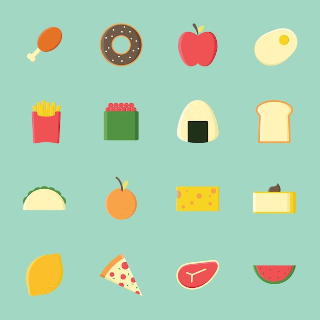 Food icon collection flat design
