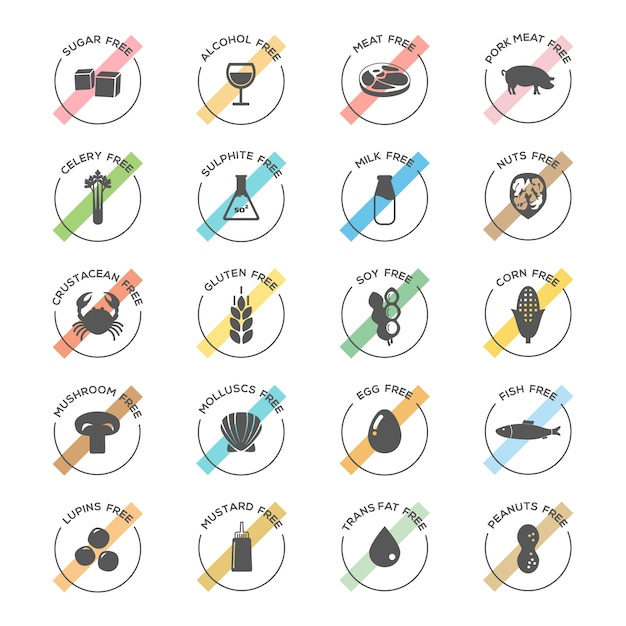 Food icon collection Free Vector
