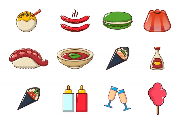 Food icon set. cartoon set of food vector icons collection isolated Premium Vector