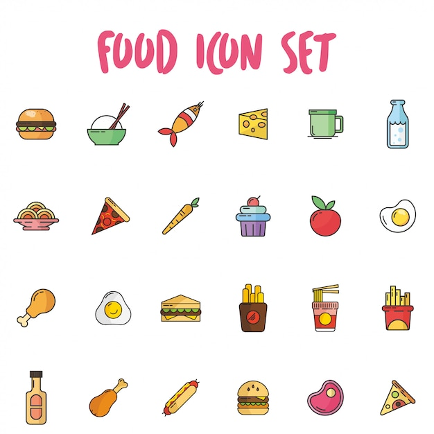 Food icon set in outline style with pastel color Premium Vector