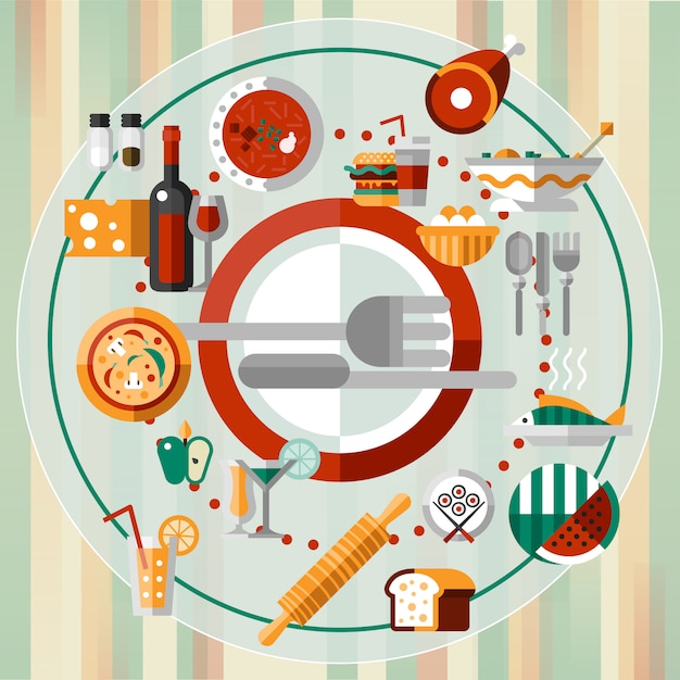 Food icons plate Free Vector