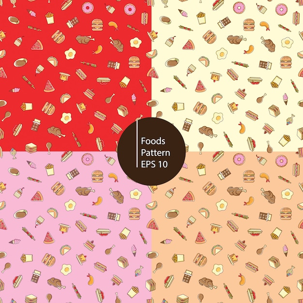 Food icons seamless pattern Premium Vector