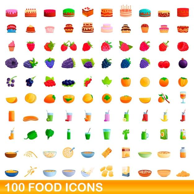 Набор иконок еды. карикатура иллюстрации иконок продуктов питания на белом фоне Premium векторы