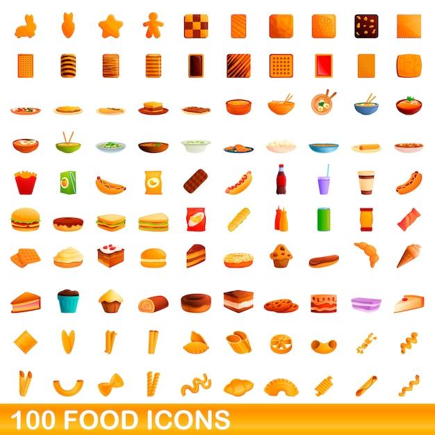 Набор иконок еды, мультяшном стиле Premium векторы