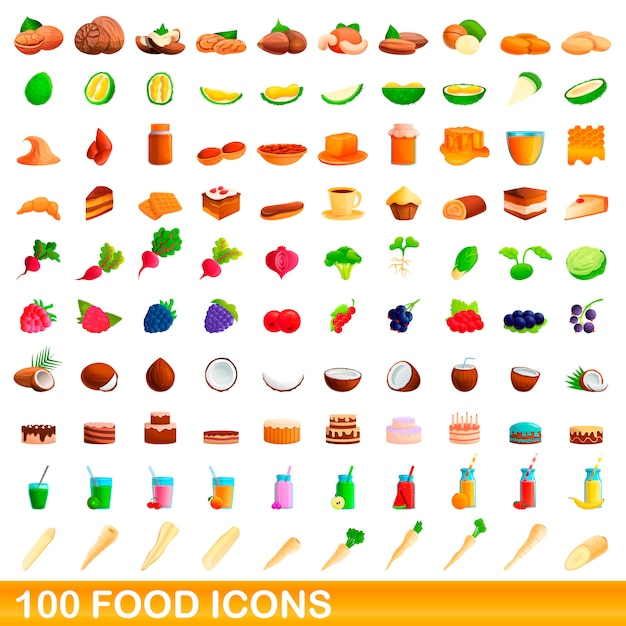 Food icons set, cartoon style Premium Vector