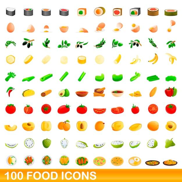 Food icons set, cartoon style Premium Vector