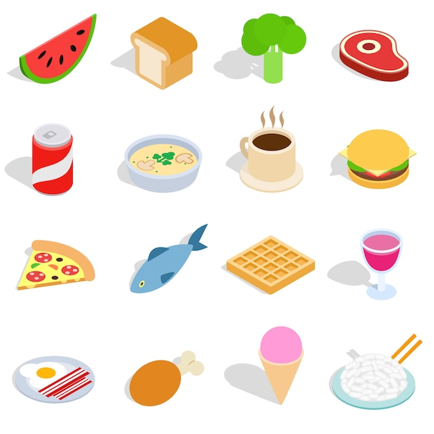 Food icons set in isometric 3d style isolated on white background Premium Vector
