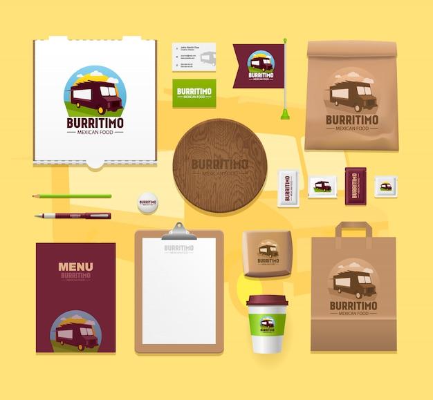 Набор макетов идентичности еды. брендовые пакеты Premium векторы