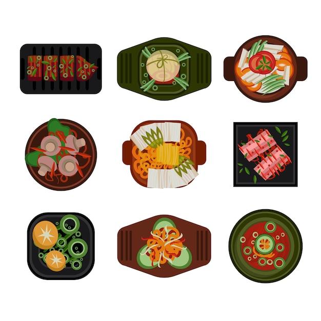 Food illustration korean food vector Premium Vector