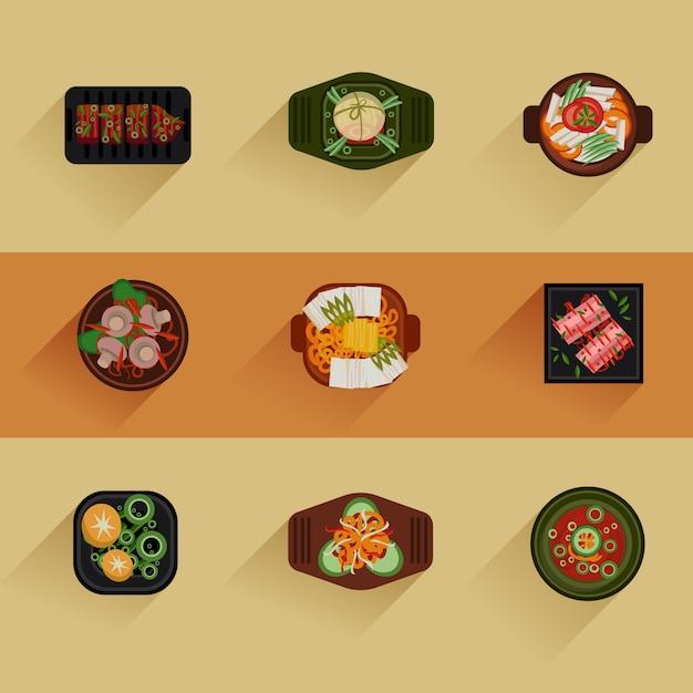 Food иллюстрация корейская еда Premium векторы