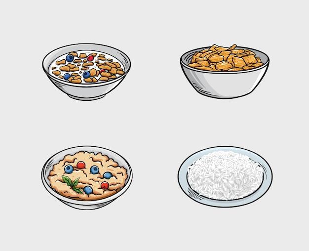 Еда включает хлопья, кукурузные хлопья, кашу и рис. Premium векторы