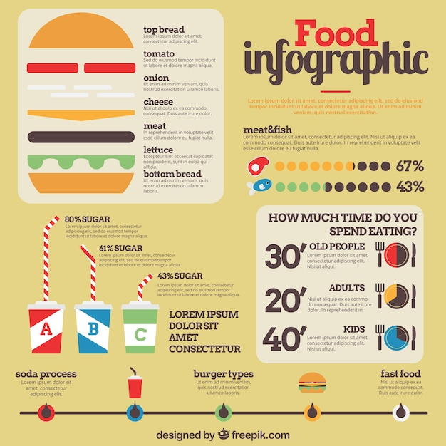 food infographic template with burger and some graphs. Black Bedroom Furniture Sets. Home Design Ideas