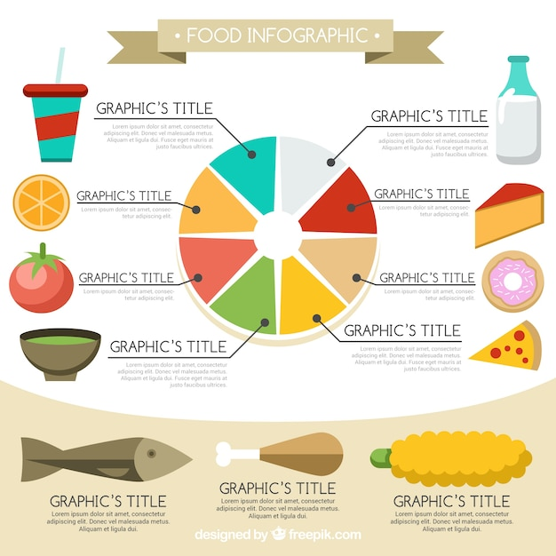 Food infographic with colorful circle and flat elements Vector ...
