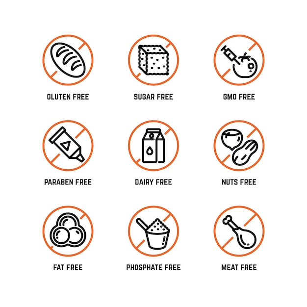 Значки предупреждений о пищевых ингредиентах, без фосфатов, без гмо, без символов глютена Premium векторы