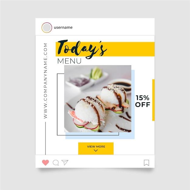 Concetto di cibo instagram post Vettore gratuito
