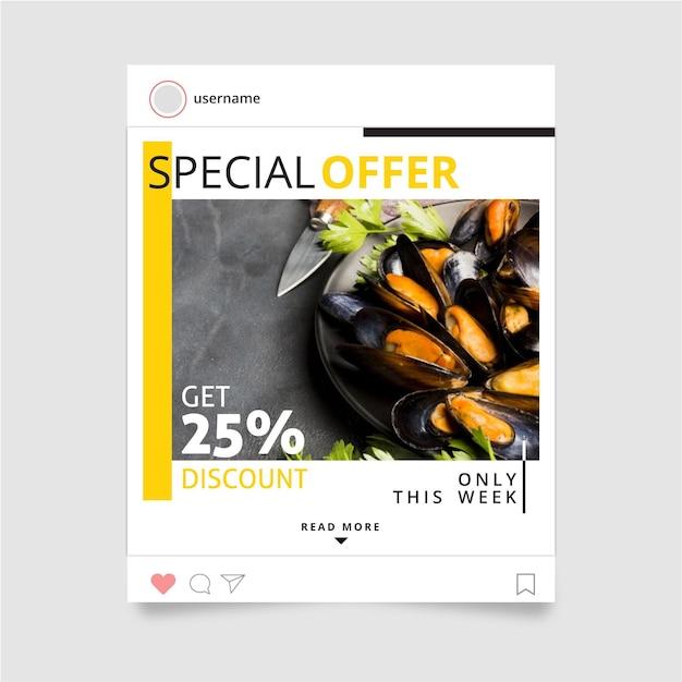 Post design instagram alimentare Vettore gratuito