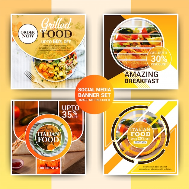 Food instagram post template Premium Vector