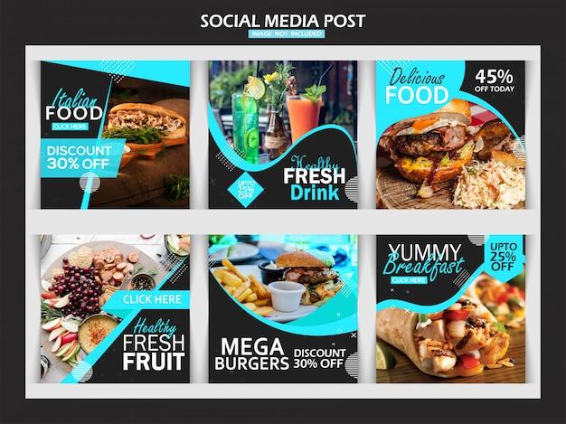 Food instagram post template Premium Vector