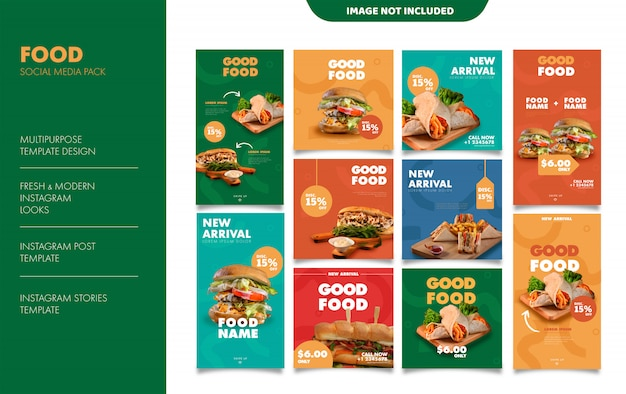 Food instagram stories feed post template Premium Vector