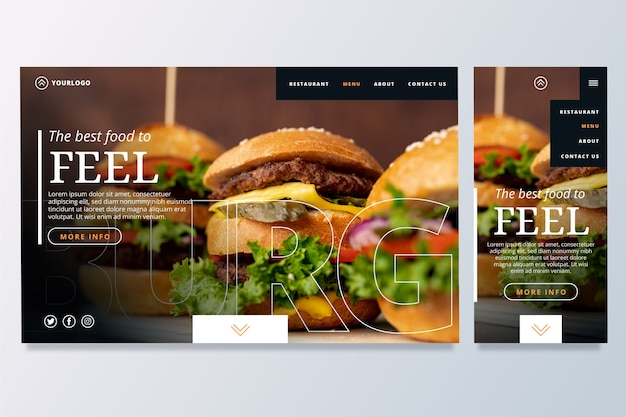 Food landing page template Free Vector