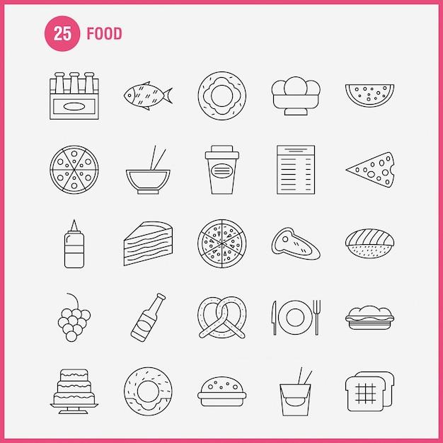 Food line icon Premium Vector
