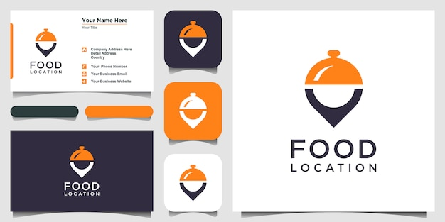 Food location icon logo design inspiration and business card Premium Vector
