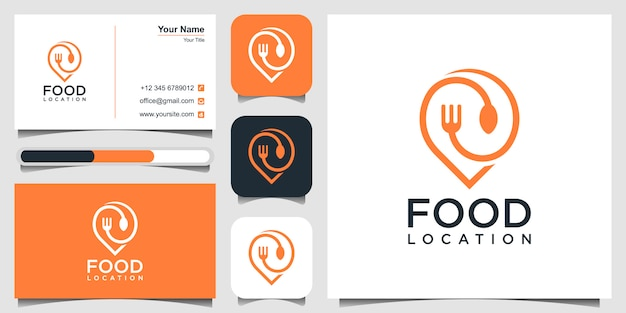 Food location logo design, with the concept of a pin and business card Premium Vector