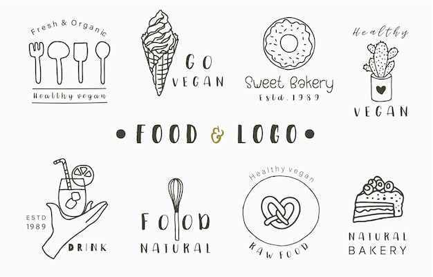 Food logo collection with cake,drink,donut,ice cream.vector illustration for icon,logo,sticker,prin