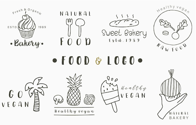Food logo collection with pineapple,bread,coconut tree,ice cream.vector illustration for icon,logo,sticker,printable and tattoo Premium Vector