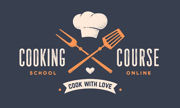Логотип еды. логотип для класса кулинарной школы с инструментами для барбекю, вилкой для гриля, лопаткой, шляпой шеф-повара, типографией текста coocking course. Premium векторы